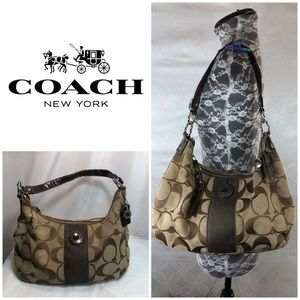 Auth Used Coach Tan & Brown Handbag
